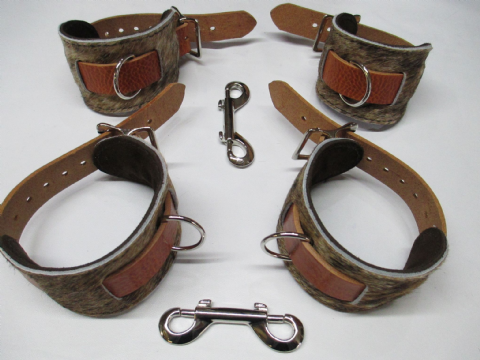 Light Brown Brindle Hair on Hide Leather 4 Piece Restraint Cuffs Set (Wrist & Ankles (HOH4)